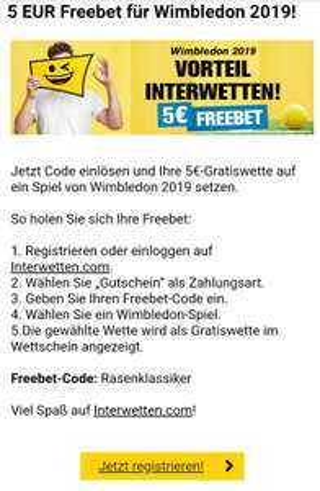 Interwetten 5€ Freebet für Wimbledon