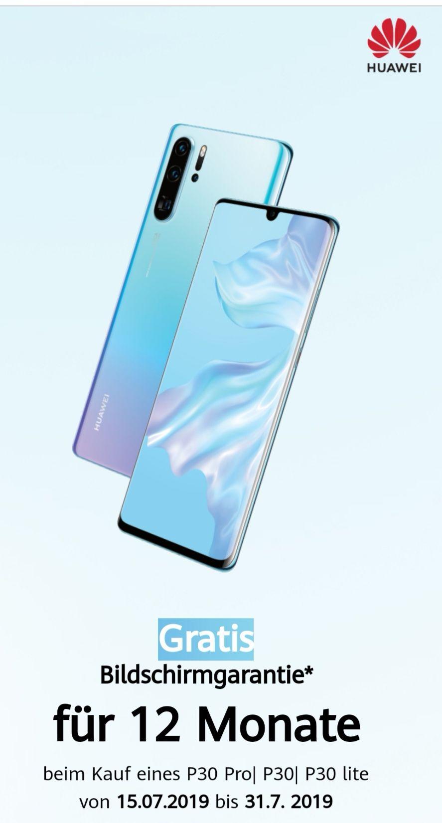 Huawei P30 Serie GRATIS 12 Monate Bildschirmreparatur (Tausch)