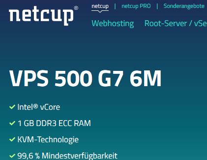 20 Euro Gutschein für Netcup, z.B.: netcup vServer für 6 Monate für nur 0,95€
