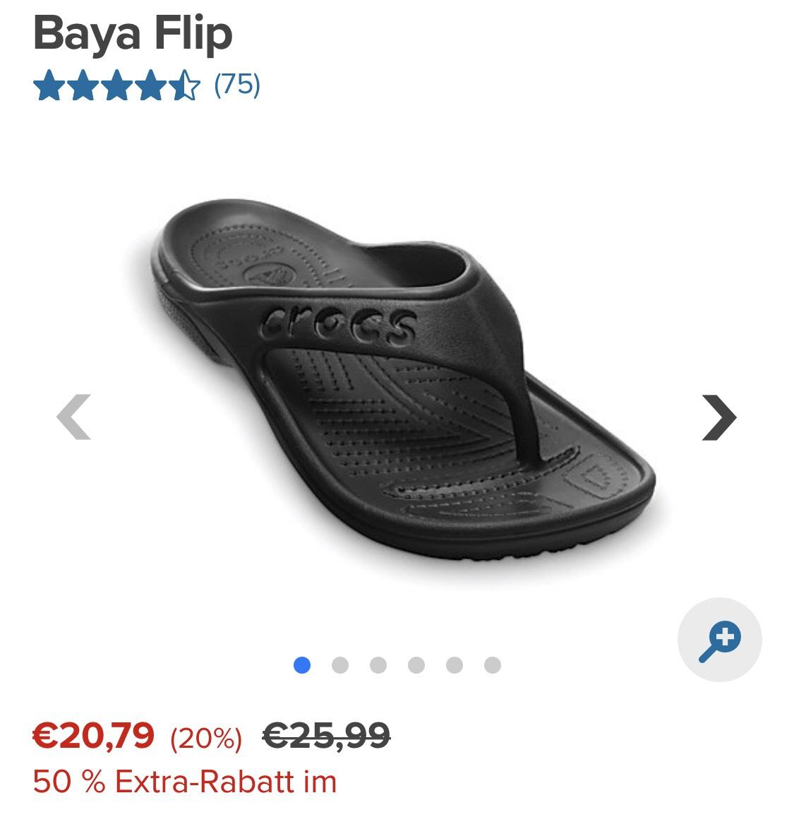 Crocks Baya Flips, uvm. -50% auf Sale + kostenlos. Versand!