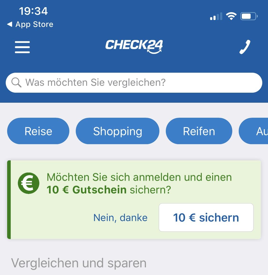 10€ Check24.de App Bonus MW/Hotels