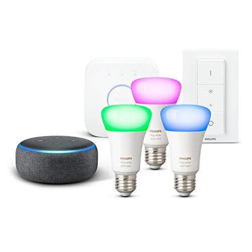 Echo Dot (3. Gen.), Anthrazit Stoff + Philips Hue Color Starter Set