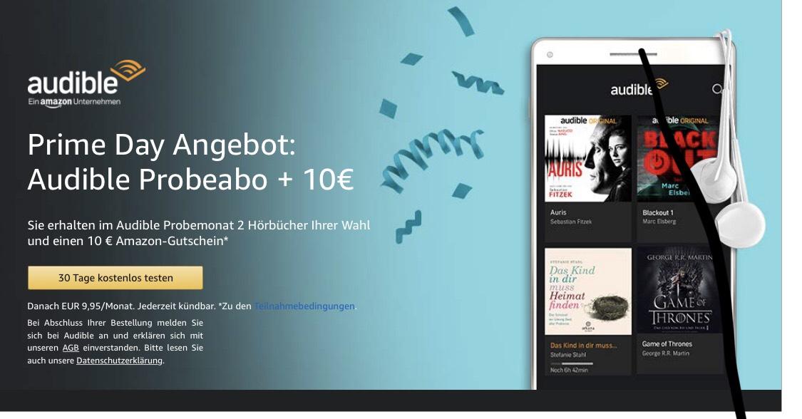 10 € Amazon Gutschein bei kostenlosem Audible Test