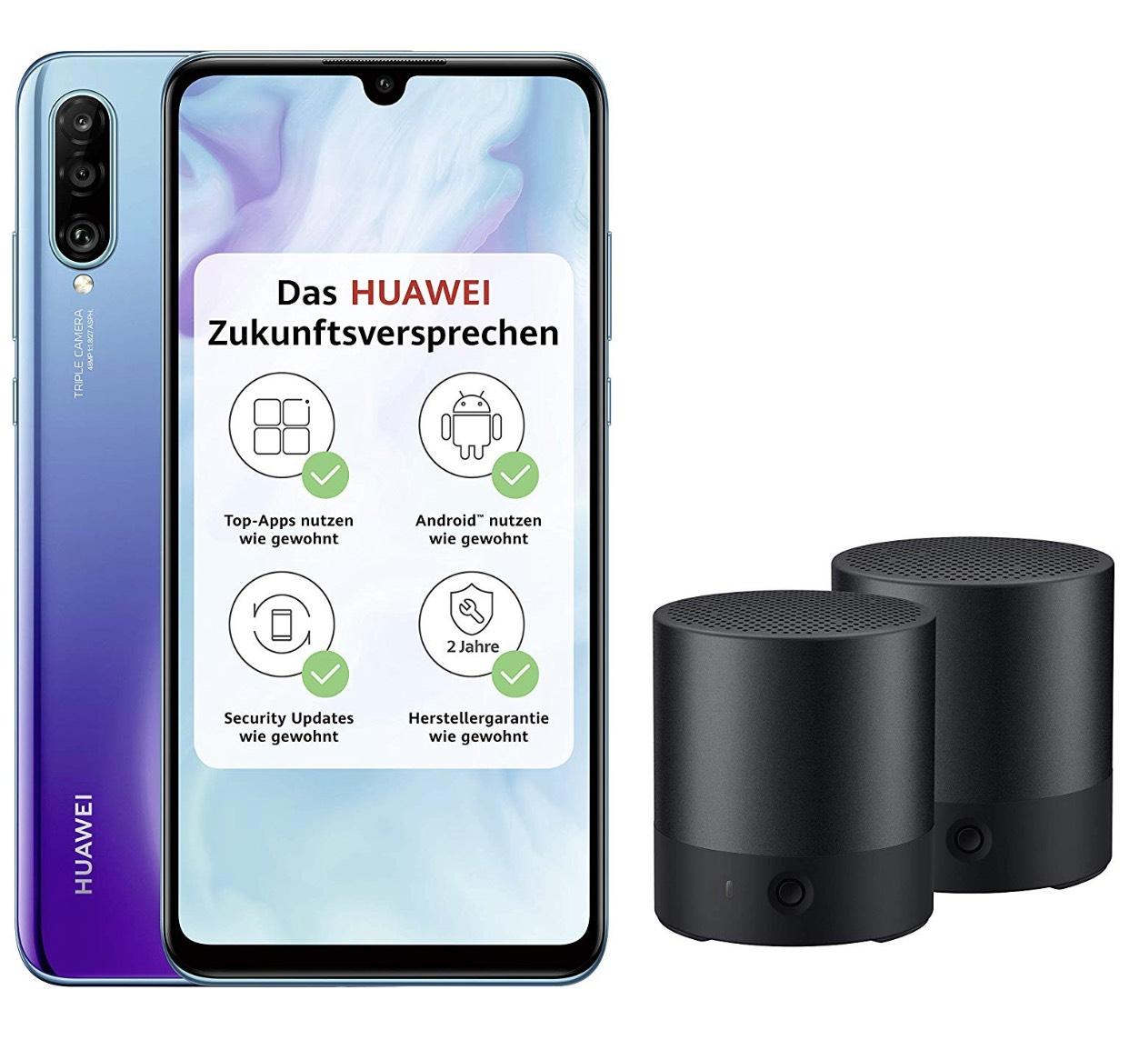Huawei P30 lite Dual-SIM (6,15 Zoll, 128 GB ROM, 4 GB RAM, Android 9.0) in Schwarz, Weiß oder Peacock Blue + 2 x Bluetooth MiniSpeaker CM510