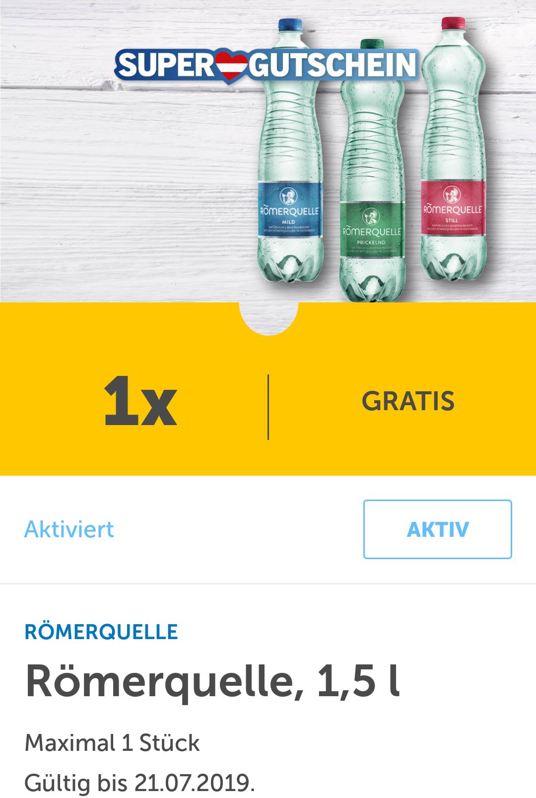 Gratis Römerquelle 1,5l mit der Lidl-App