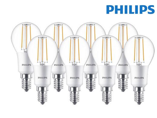 8x Philips LED Classic dimmbare Glühlampe | E14