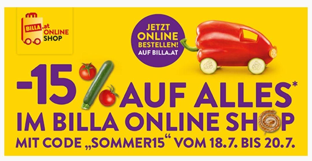 -15% auf Alles*im BILLA Online Shop ab einem Einkauf von 70 Euro.