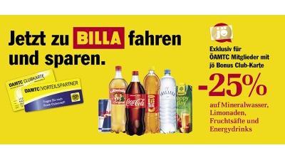 [ÖAMTC | Billa] -25% auf Mineralwasser, Limonaden, Fruchtsäfte und Energydrinks