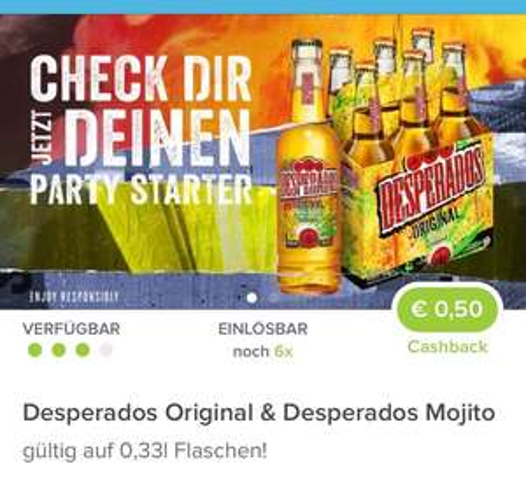 6er Tragerl Desperados -25% BILLA + 3€ Cashback