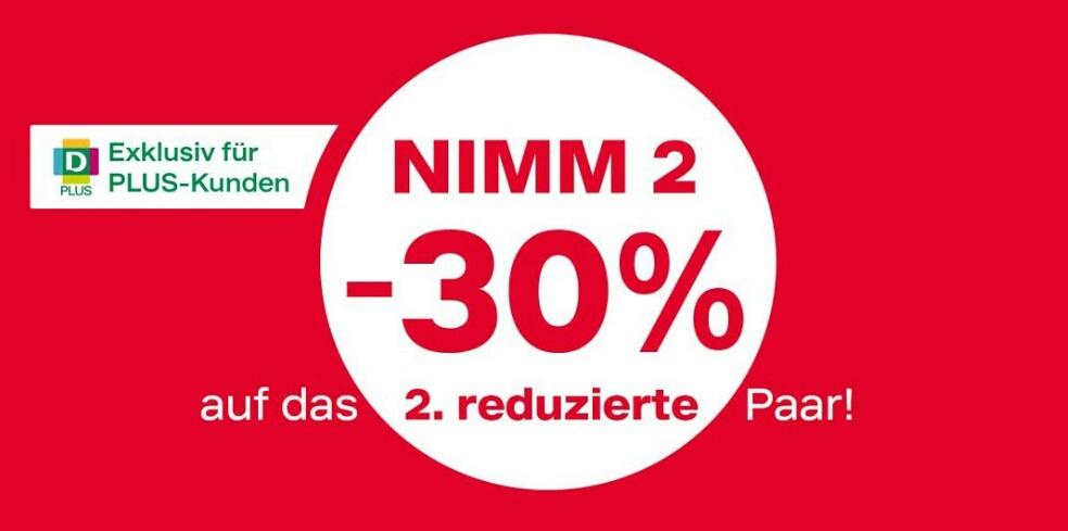 [Deichmann] 2 reduzierte Paare kaufen und das 2. für -30% erhalten - nur mit Plus Karte!