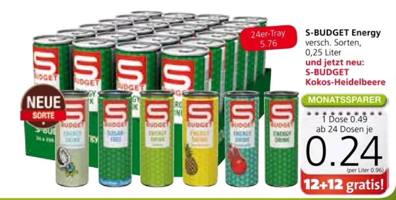 SPAR / INTERSPAR / EUROSPAR | S-Budget Energy Drink 12 + 12 Gratis