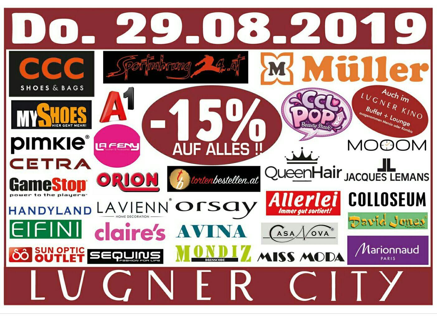 [Lugner City] -15% auf alles in 32 Shops z.B. Müller, CCC uvm.