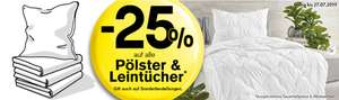 25% Rabatt auf Leintücher und Kopfpölster