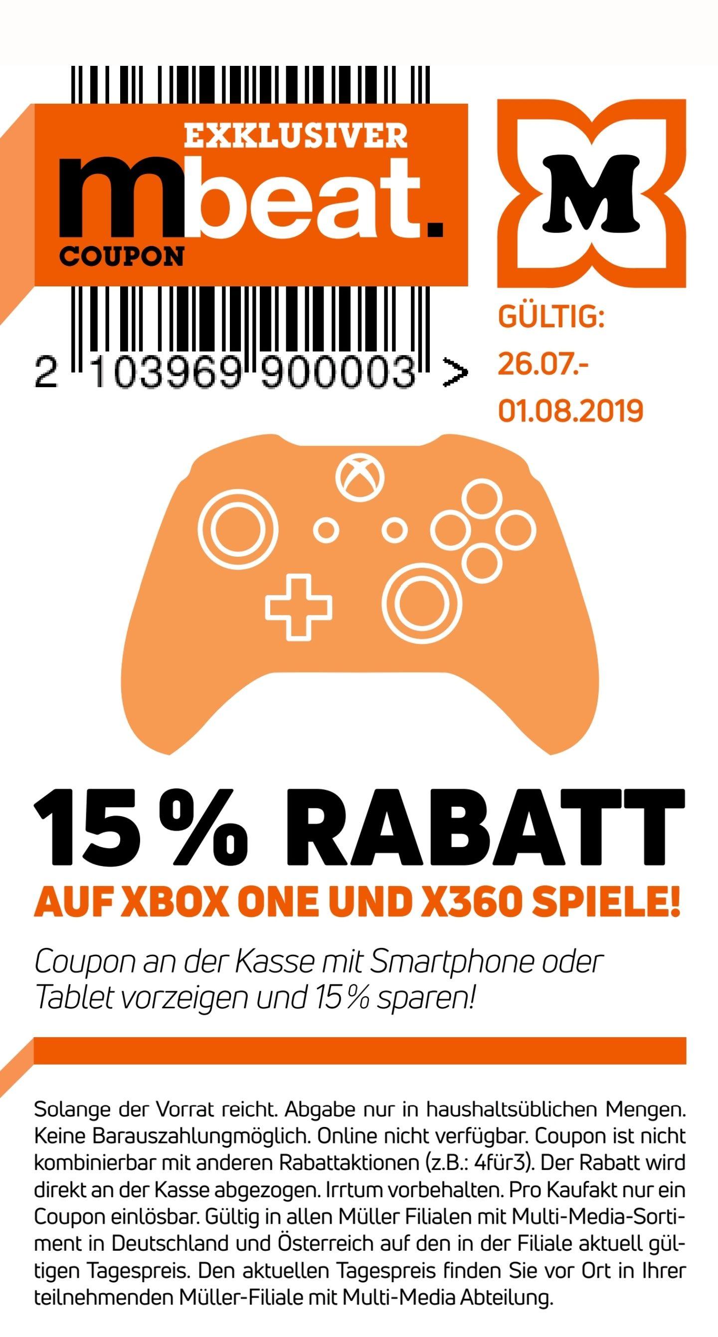 Müller -15% auf alle Xbox one und xbox 360 Spiele