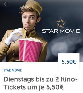 Star Movie Kinos - jeden Dienstag um 5,50 € ins Kino