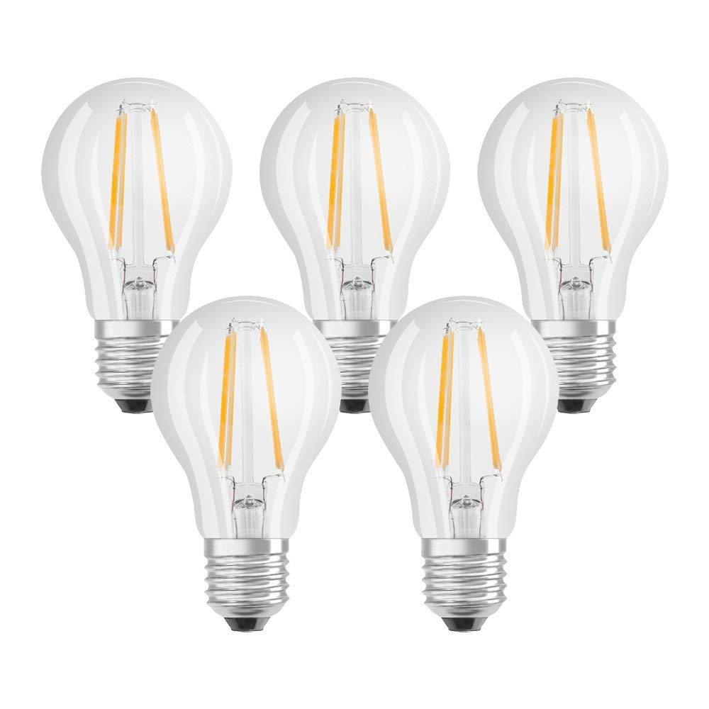 5x Osram LED Base Classic A Lampe (E27, Warm White, 2700 K, 7 W)