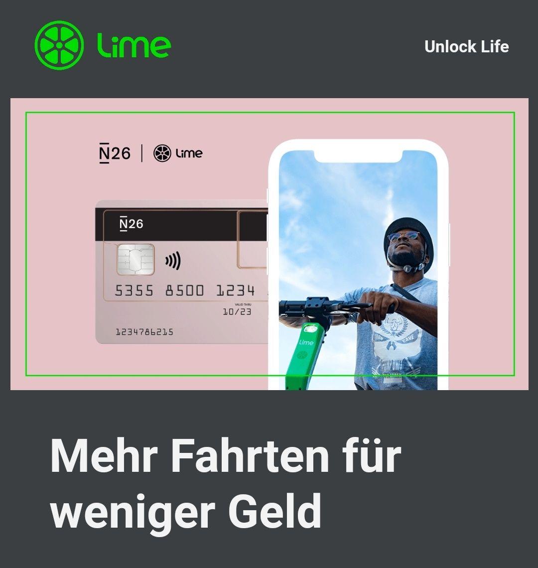 Rabatt von 50 % auf alle Lime Fahrten mit N26