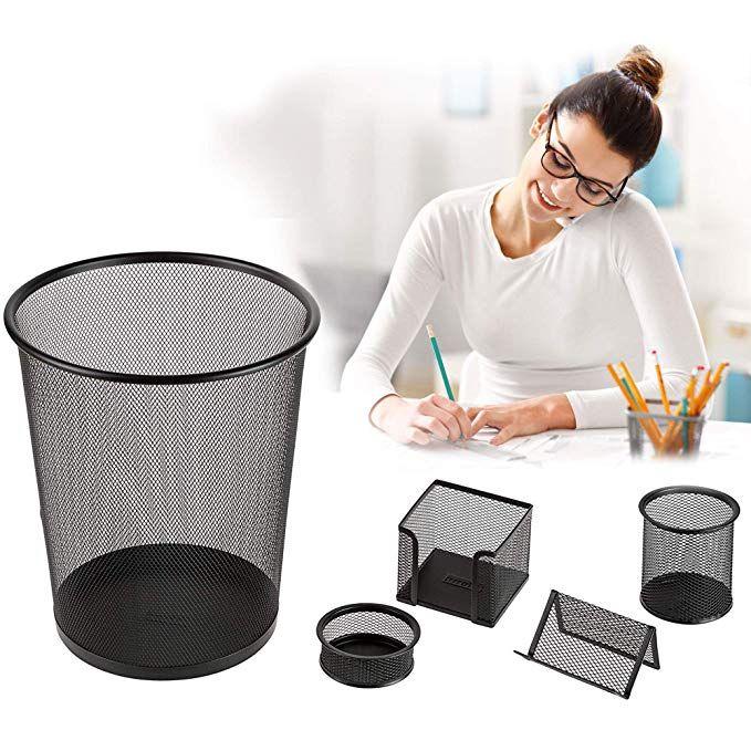 Idena Büroset aus Metall mit Papierkorb, Stifteköcher, Ablagebox, Memohalter und Zettelbox