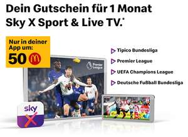 MyMcDonald's - 1 Monat lang Sky X Sport & Live TV - für 50Ms