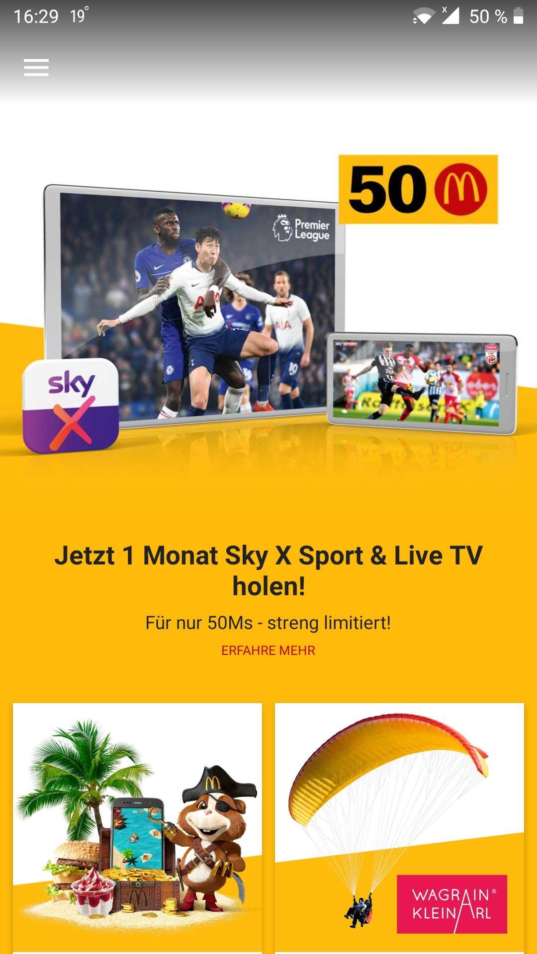 1 Monat Sky X Sport und Live TV für 50 Ms in der McDonalds App