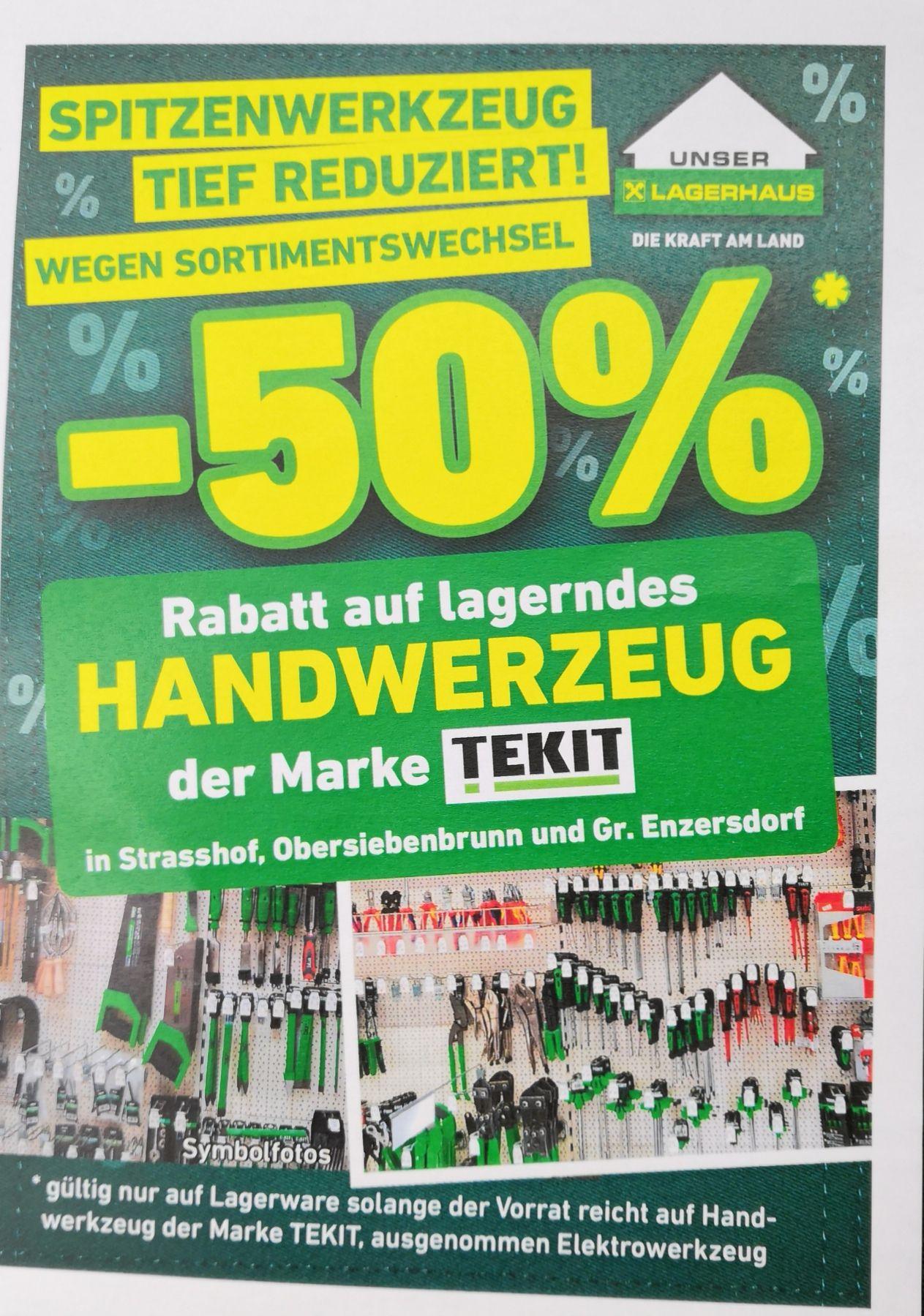 Lokal Raum Gänserndorf: 50% auf alle lagernden Tekit Handwerkzeuge