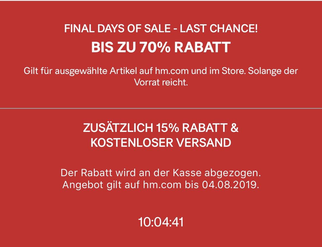H&M 15% reduzierte Ware