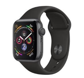 Apple Watch Series 4 (GPS) 40mm grau mit Sportarmband schwarz