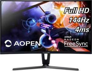 AOPEN 27HC1RPbidpx 68,6 cm (27 Zoll) Curved Gaming Monitor (LED, FHD, 1920x1080, 144 Hz, DVI HDMI DisplayPort, Audio out, FreeSync)