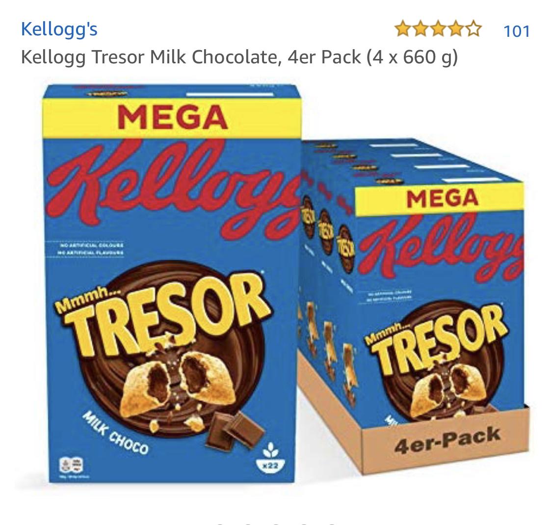 Kellogs Tresor 600gram 4er pack (2,25€ pro packung)
