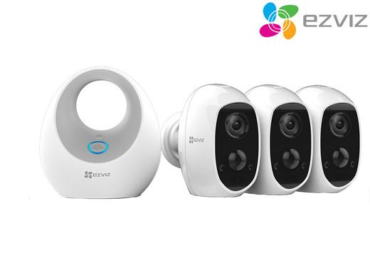 Drei Ezviz C3A Sicherheitskameras mit W2D Basisstation