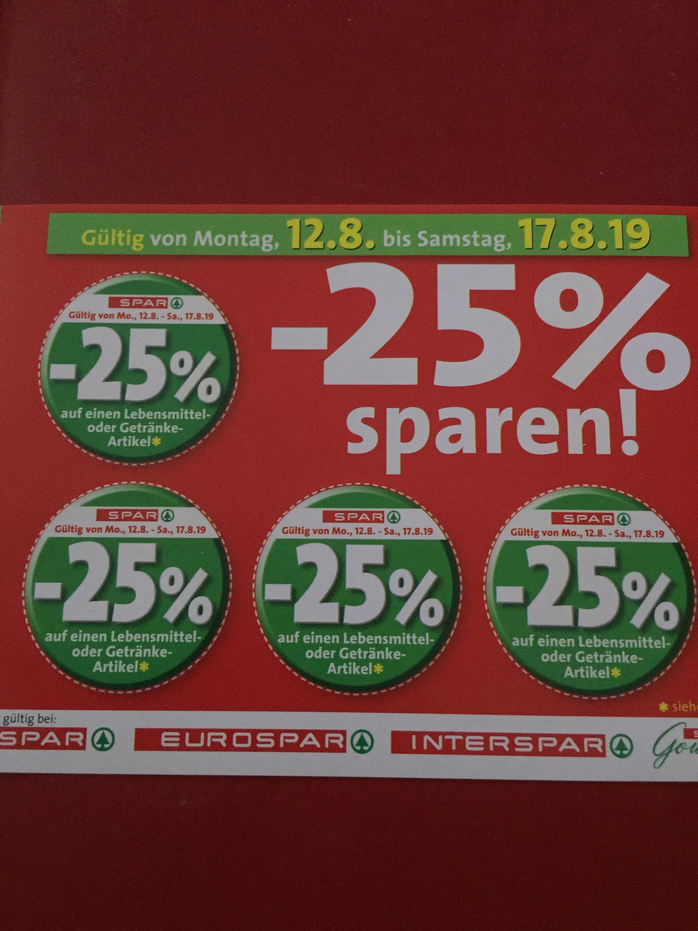 SPAR 25% Gutscheinsticker