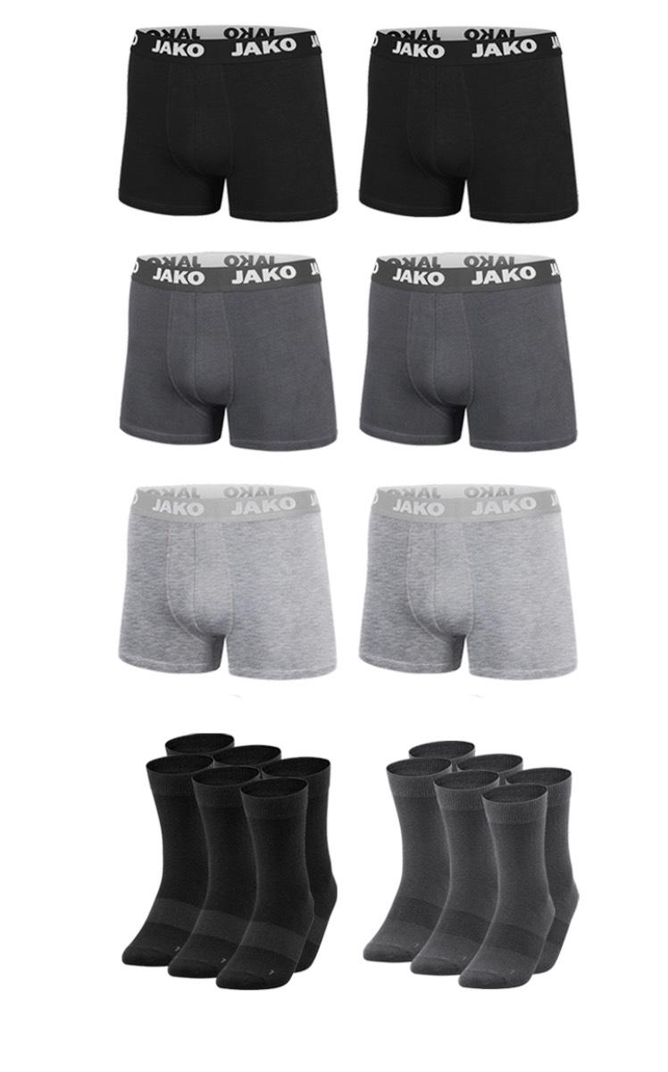Jako Unterwäsche Set (6 Paar Socken und 6 x Boxershort) in vielen Größen&Farben konfigurierbar