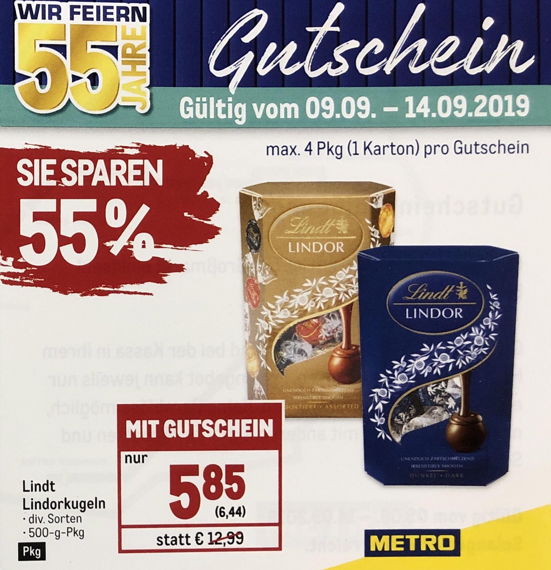 METRO Gutscheinheft - z. B.: Lindt Lindor-Kugeln 500 Gr. nur € 6,44