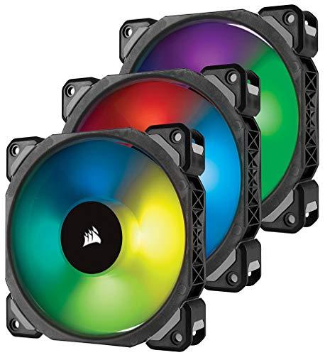 Corsair ML120 PRO RGB LED 120 mm Gehäuselüfter PWM 3er-Pack mit Lighting Node und Hub