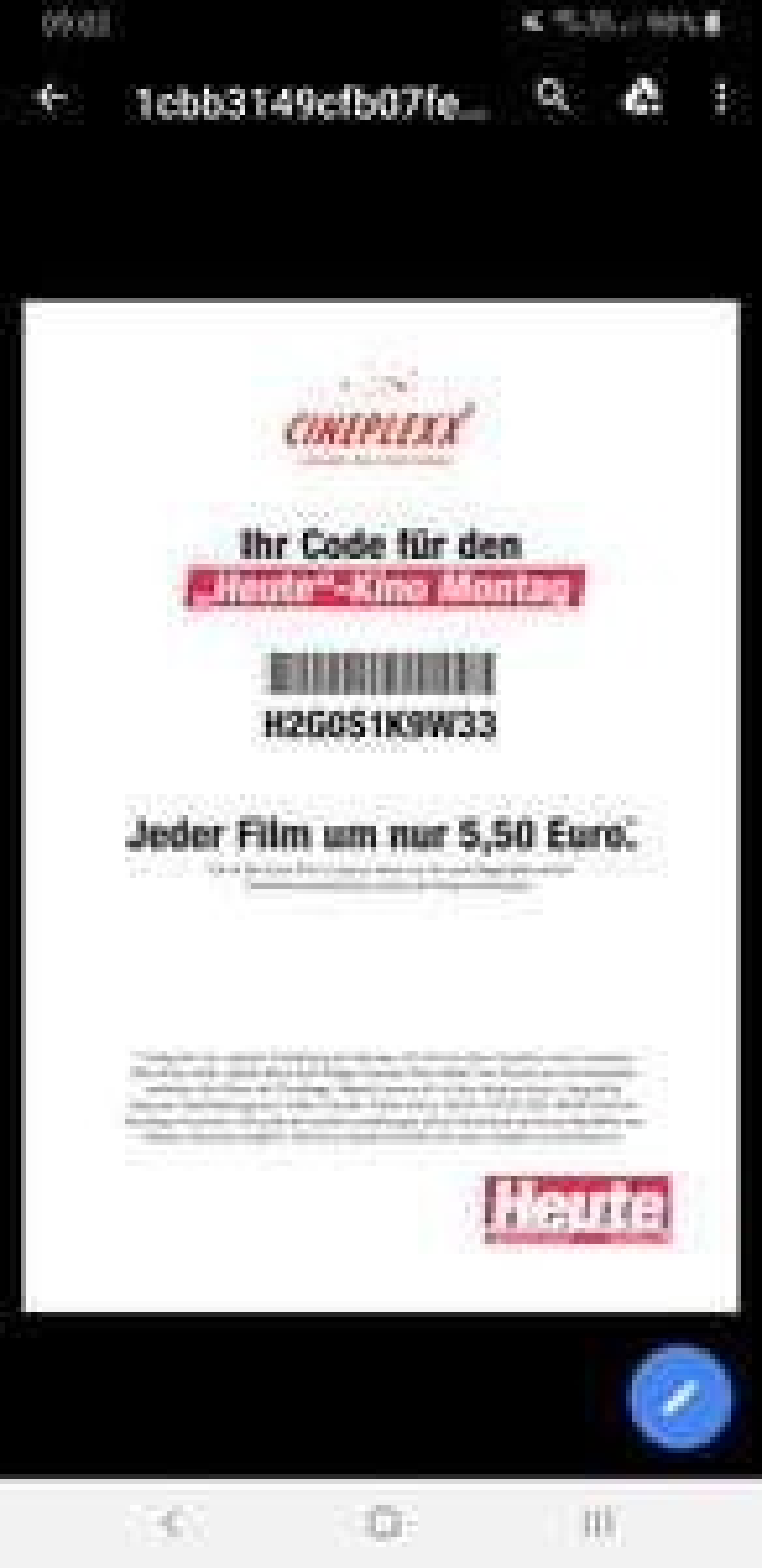 """""""Heute Montag Kinogutschein"""". Kinovorstellung um €5,50."""
