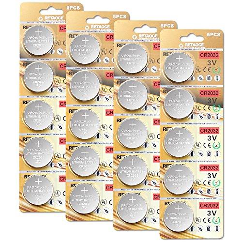20x CR2032 Batterien (Lithium Knopfzellen, 3V)