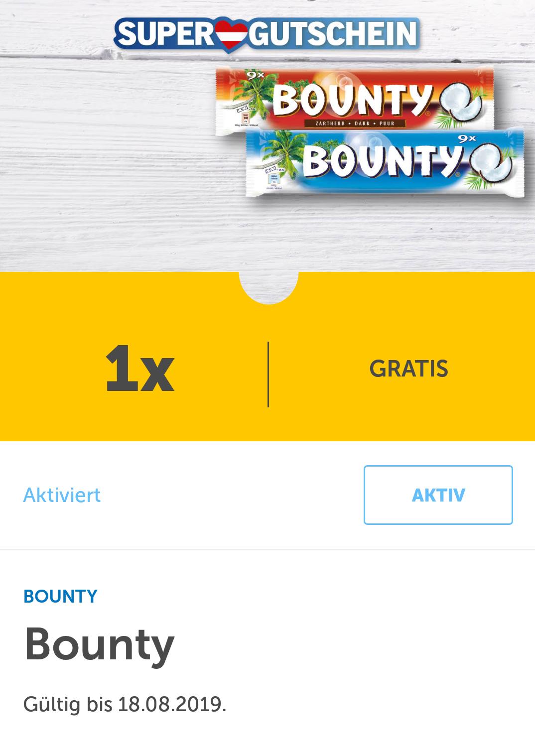 [LIDL-App] GRATIS Bounty (9 Stück Packung)