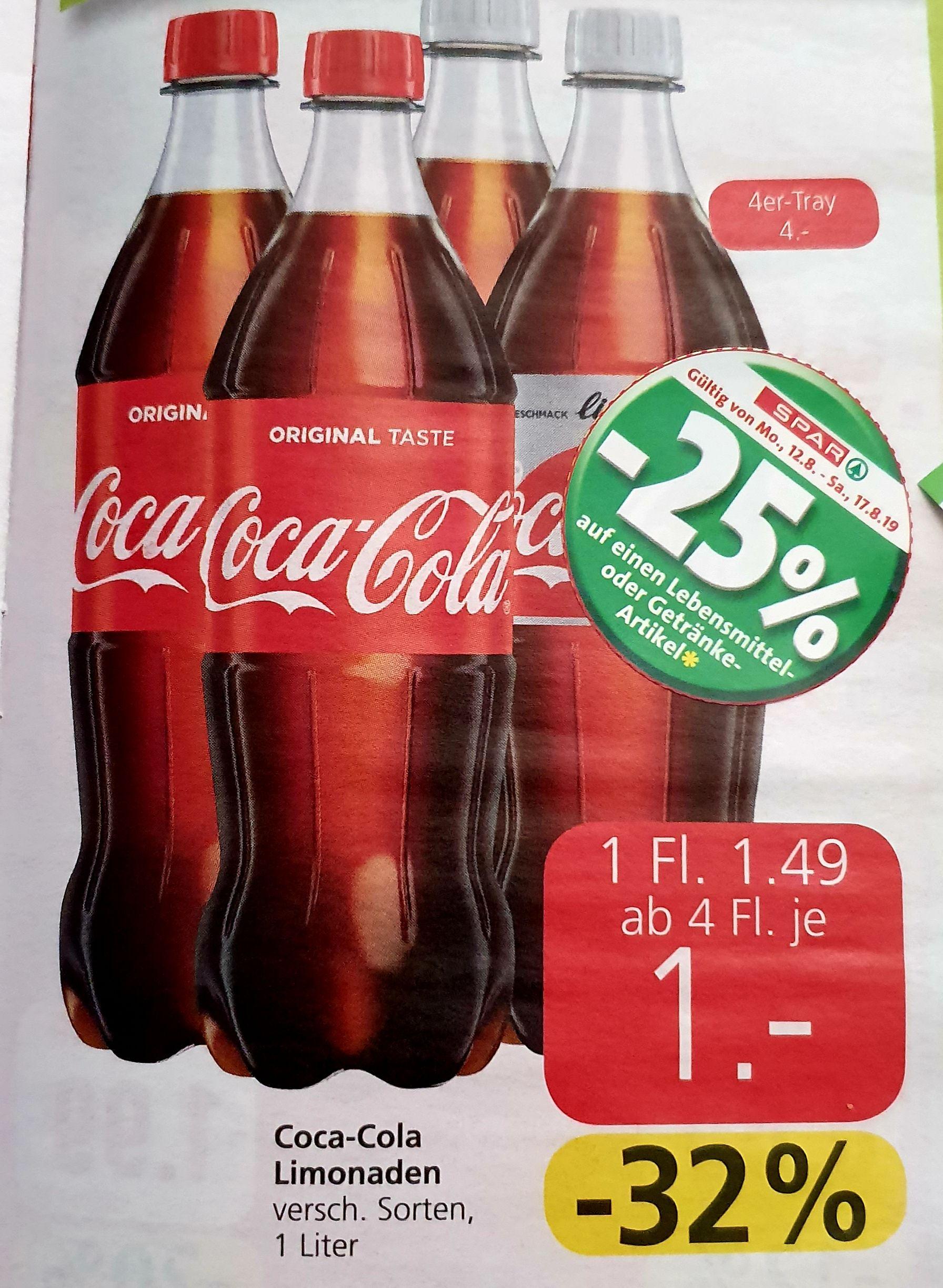 Coca Cola 1L ver.Sorten 4er Tray um 3€ mit 25% Pickerl