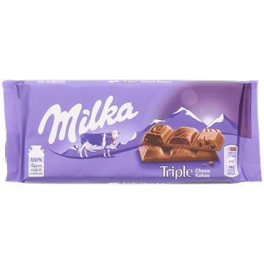 Milka Schokolade (Triple Chocolate, Collage mit Himbeeren, Erdnuss-Crisp)