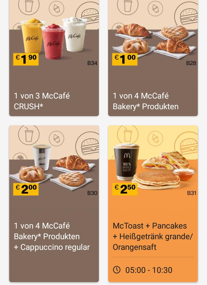 [McDonaldsApp] Neue Gutscheine fürs Frühstück in der App