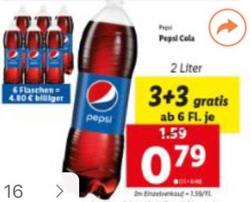 [Lidl] Pepsi (2l) Aktion 3+3 gratis