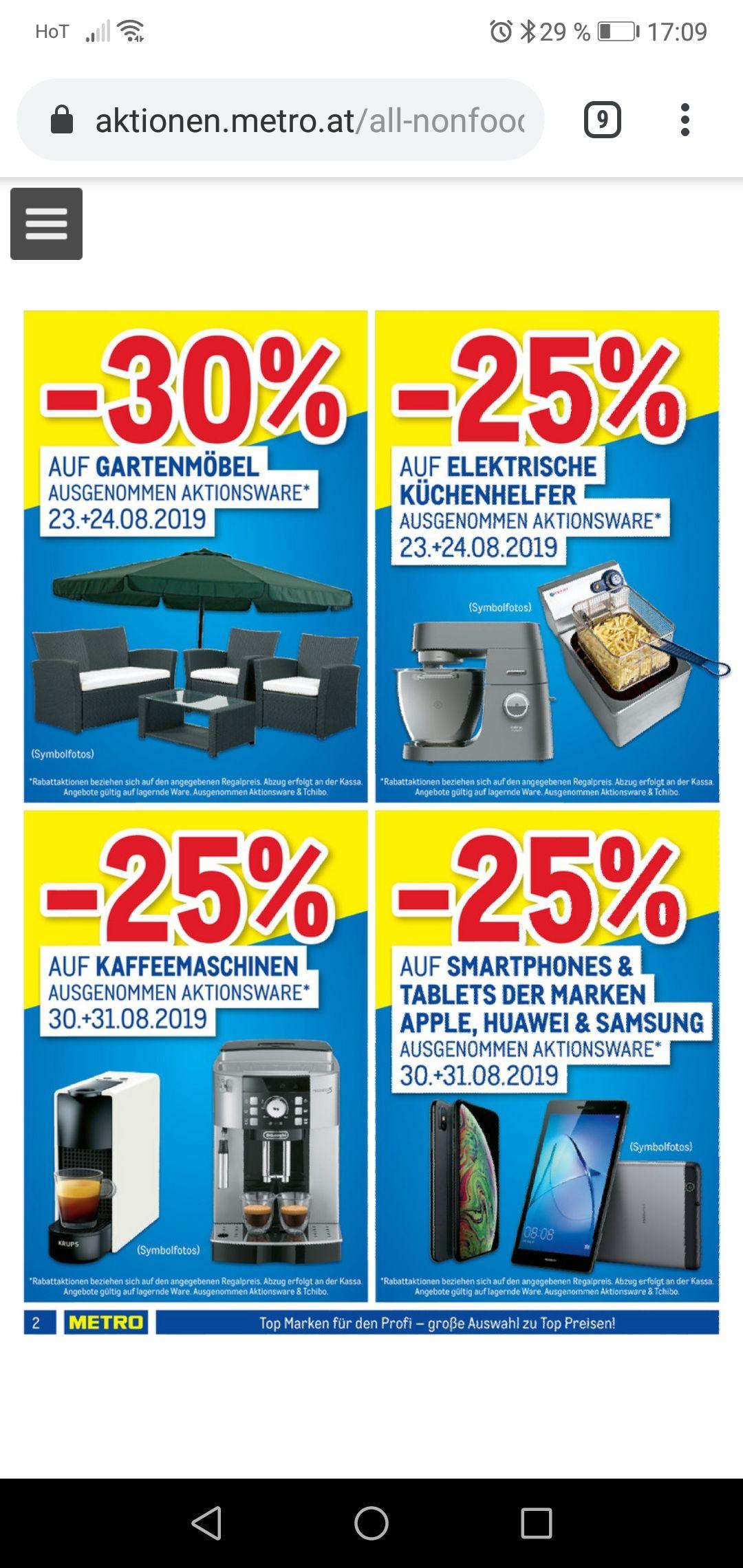Metro 25 Prozent auf Smartphones und tablet