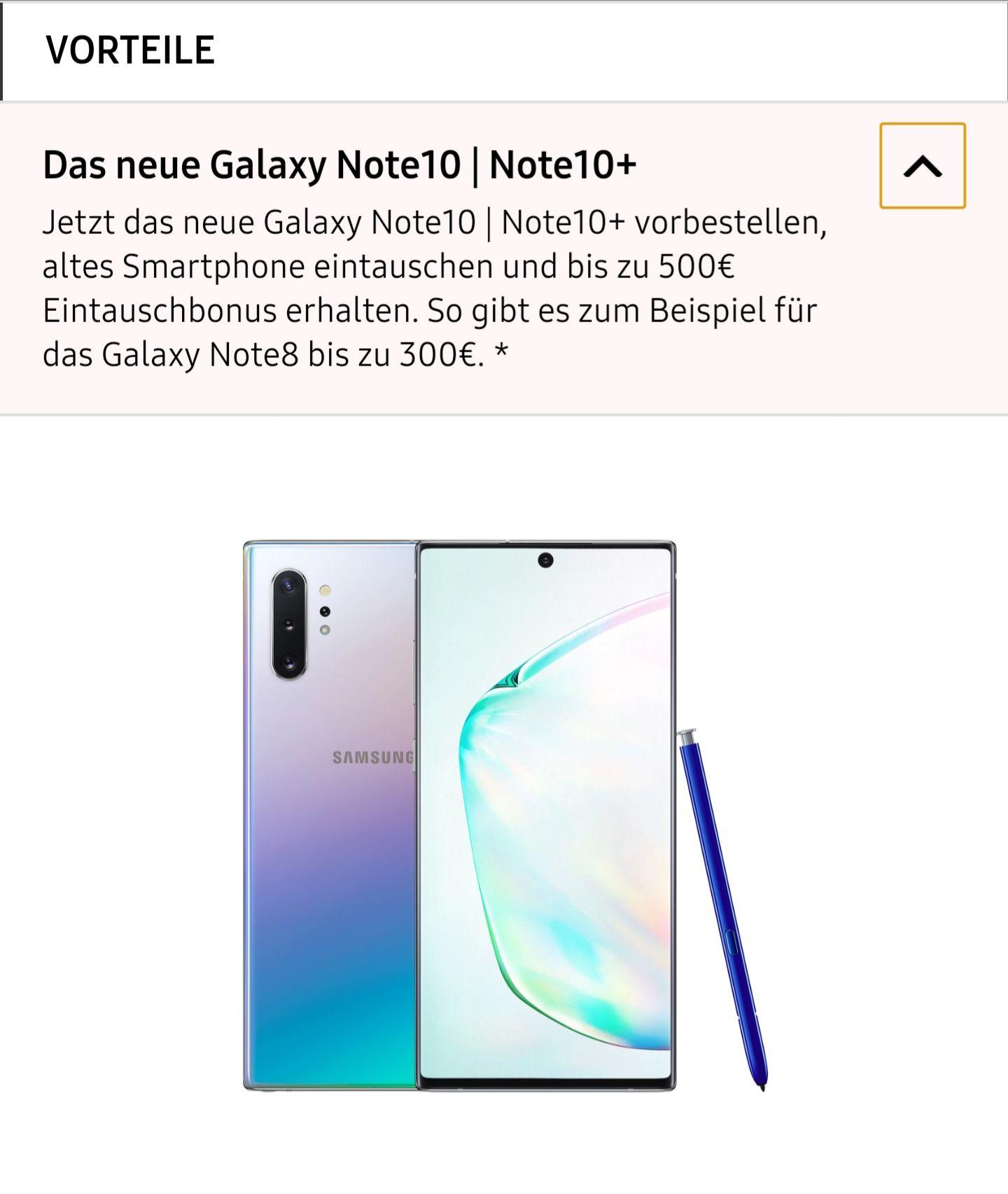Galaxy Note 10 oder 10+ Eintauschbonus
