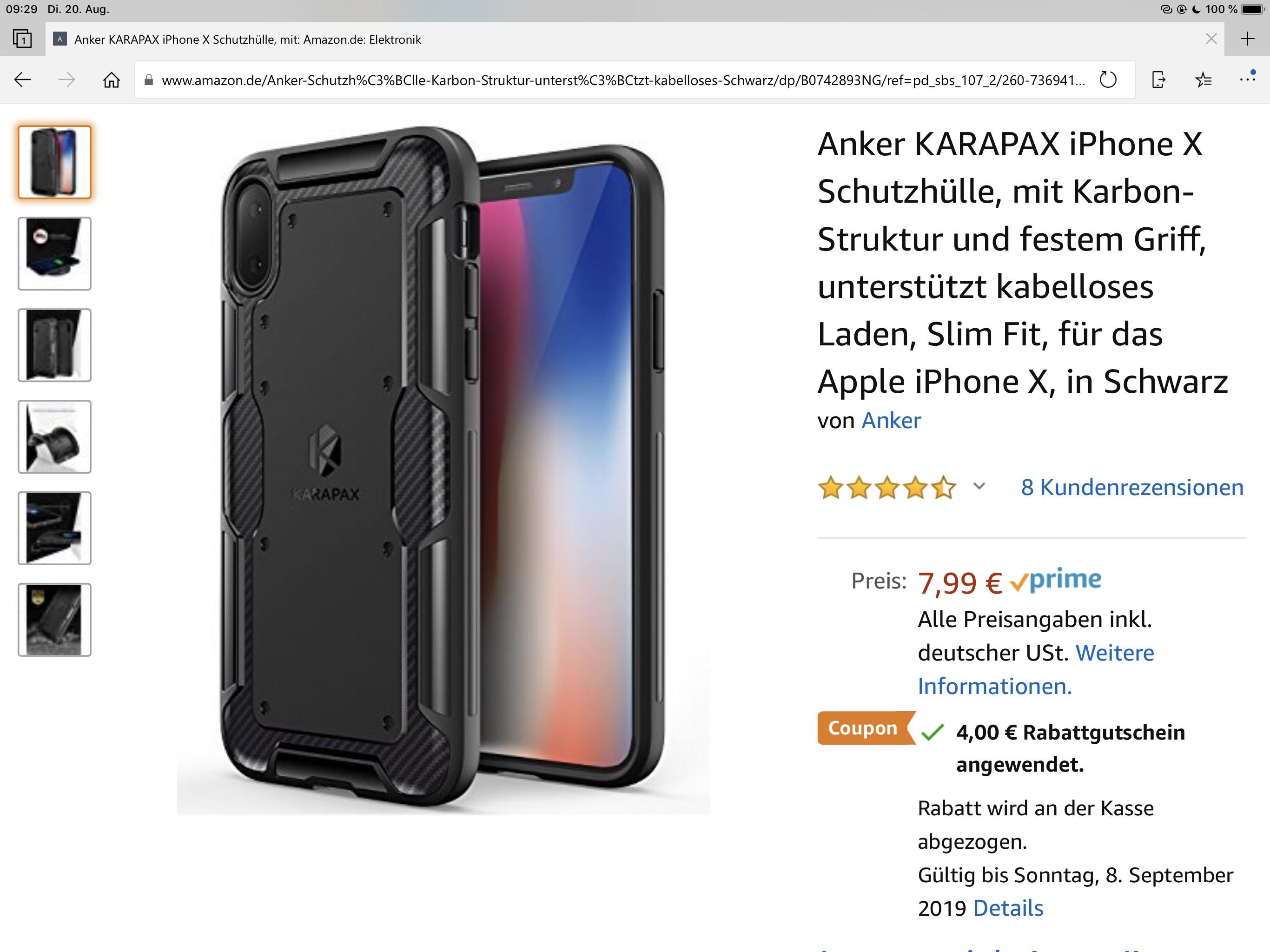 Mehrere Anker Schutzhüllen für das IPhone X mit Coupon günstiger.
