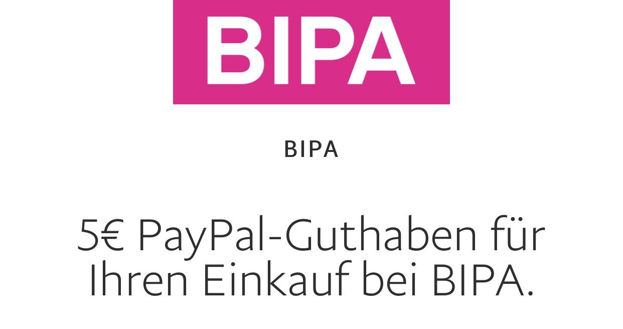 Bipa: 5€ Gutschein ab 20€ Einkaufswert über euer Paypal Konto