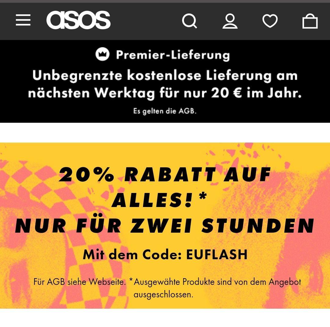 [schnell] ASOS -20% Gutschein auf alles