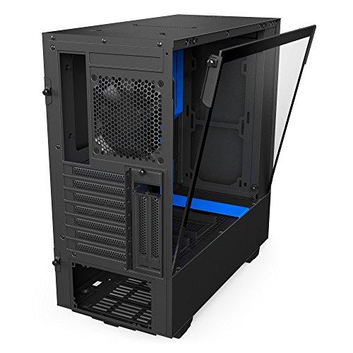 NZXT H500i schwarz/blau Gehäuse, Glasfenster (CA-H500W-BL) Lüftersteuerung, RGB-LED-Beleuchtung, Mini-ITX bis ATX, versch. Farben (amazon)