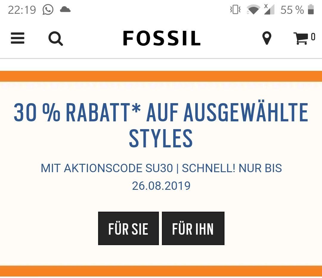 Fossil Gutscheincodes (-30% + -15%) kombinierbar