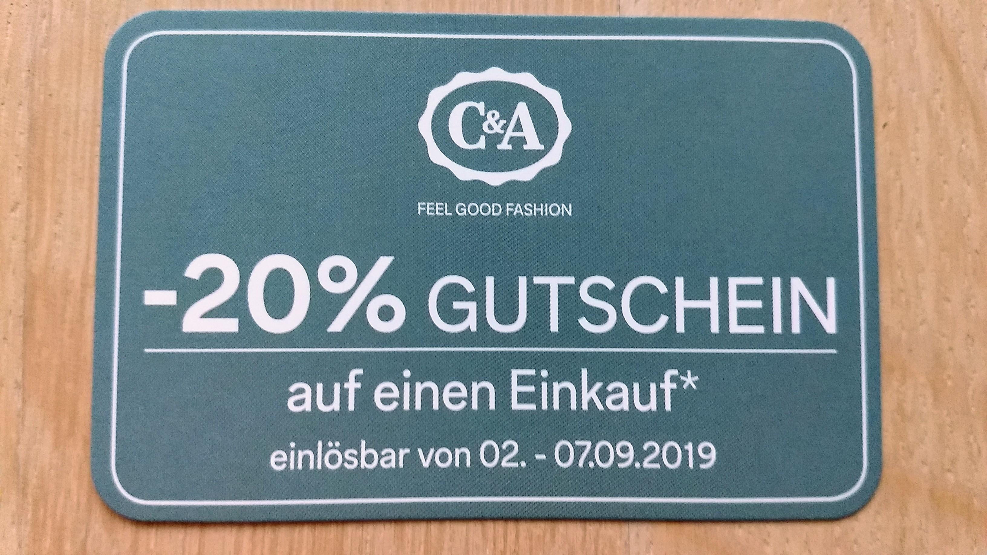 C & A: -20 % Gutschein, einlösbar vom 2. - 7. Sept. 2019