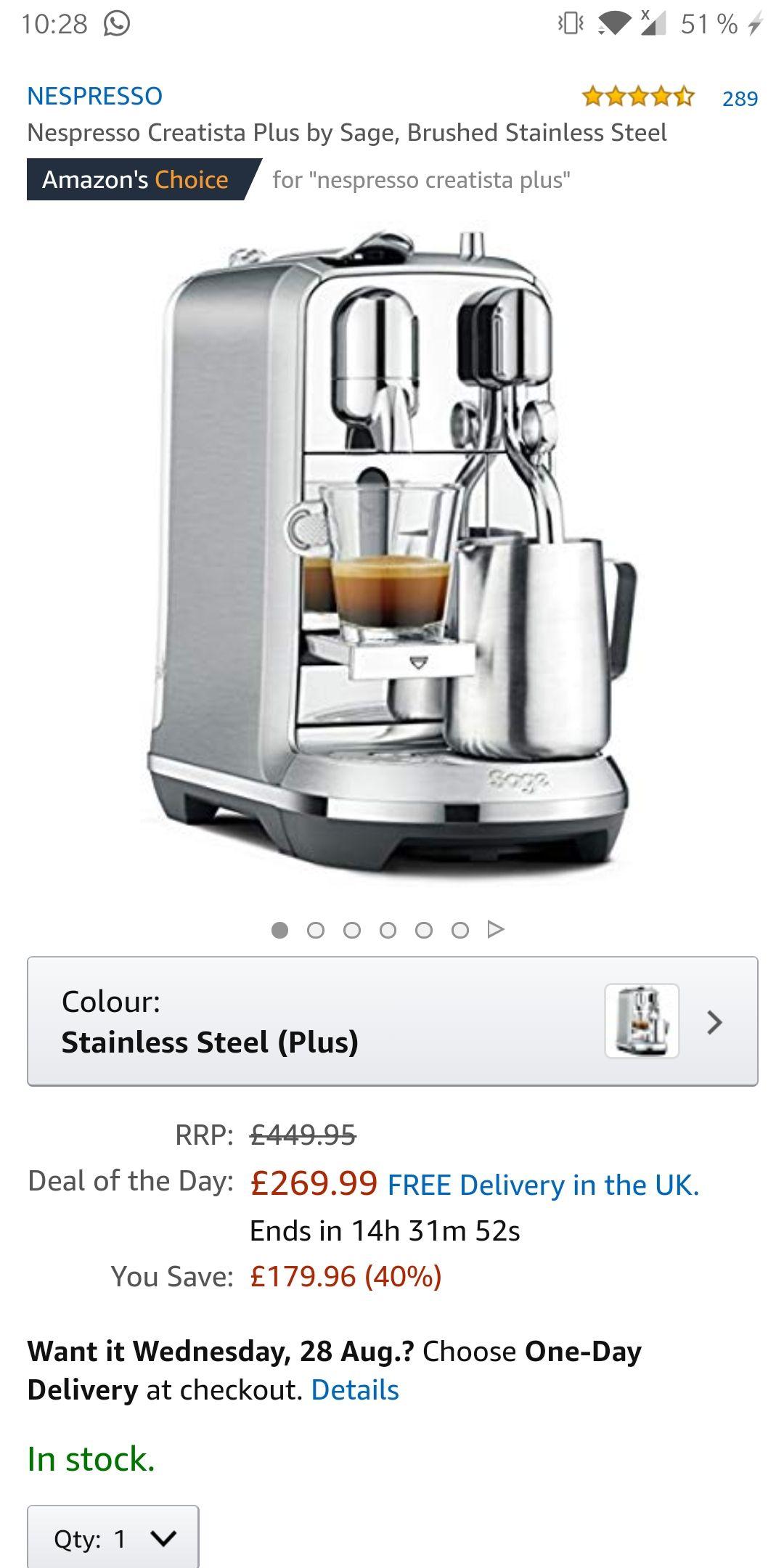 [Amazon UK] Nespresso Creatista Plus by Sage